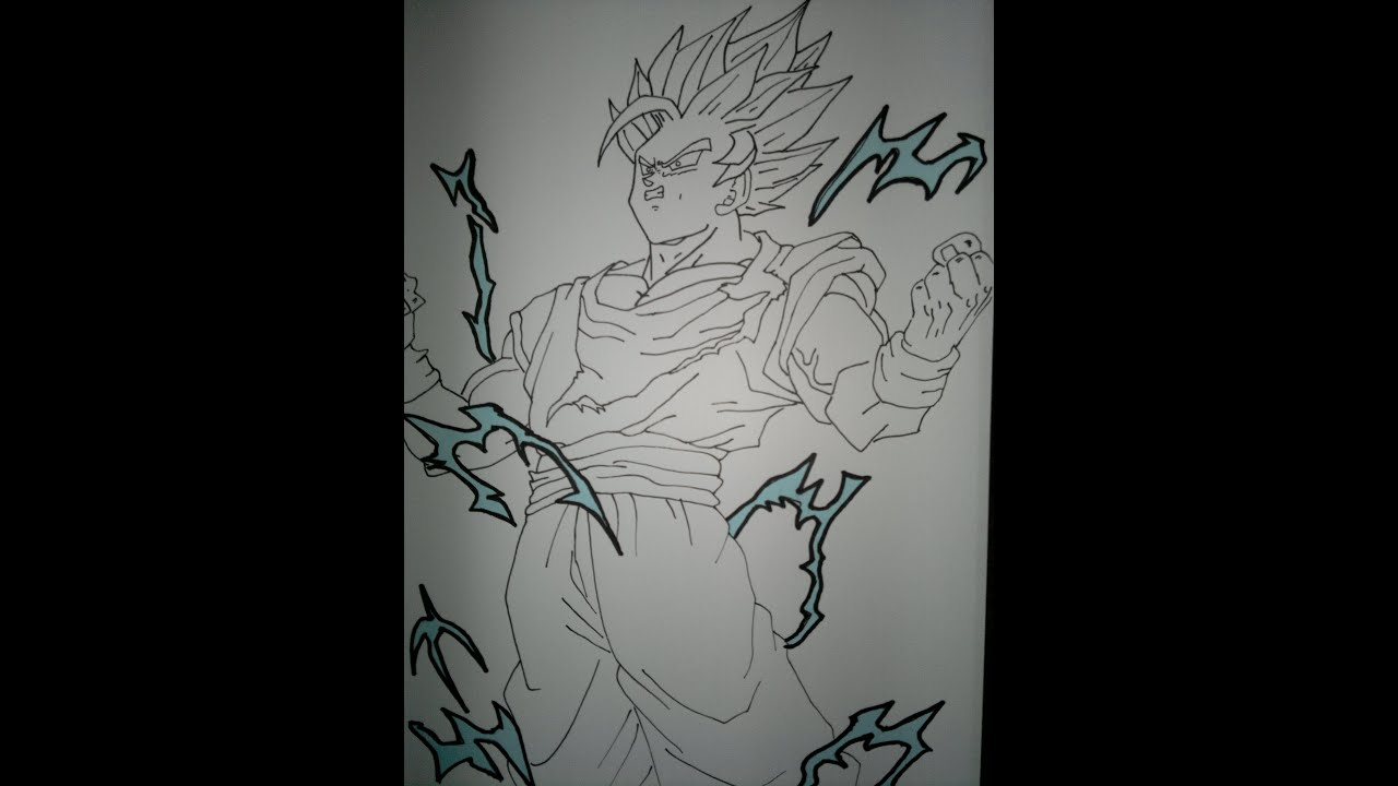 Drawing Goku Super Saiyan 2 Full Body.悟空スーパーサイヤ人2を描画する方法 ...