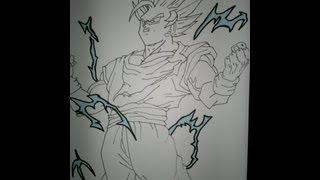 Drawing Goku Super Saiyan 2 Full Body.悟空スーパーサイヤ人2を描画する方法.