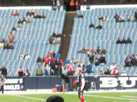 Brian Moorman punting pre game vs. Patriots.