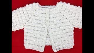 Sweterek dla niemowlaka na szydełku, rozpinany, rozmiar 6 miesięcy, cz.1/2