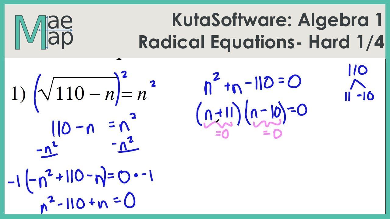 KutaSoftware: Algebra 1- Radical Equations Hard Part 1