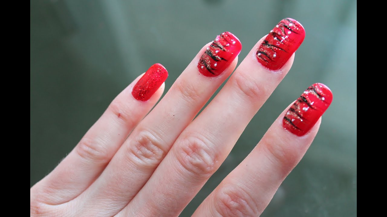 Bright Red Nail Art Design