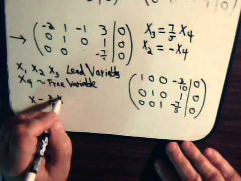 Linear Algebra Video #6: Reduced Echelon Form - Lead & Free Variables For Square Matrices