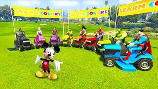 LEARN COLOR LAWN MOWERS 3D Cartoon with Superheroes for children and babies