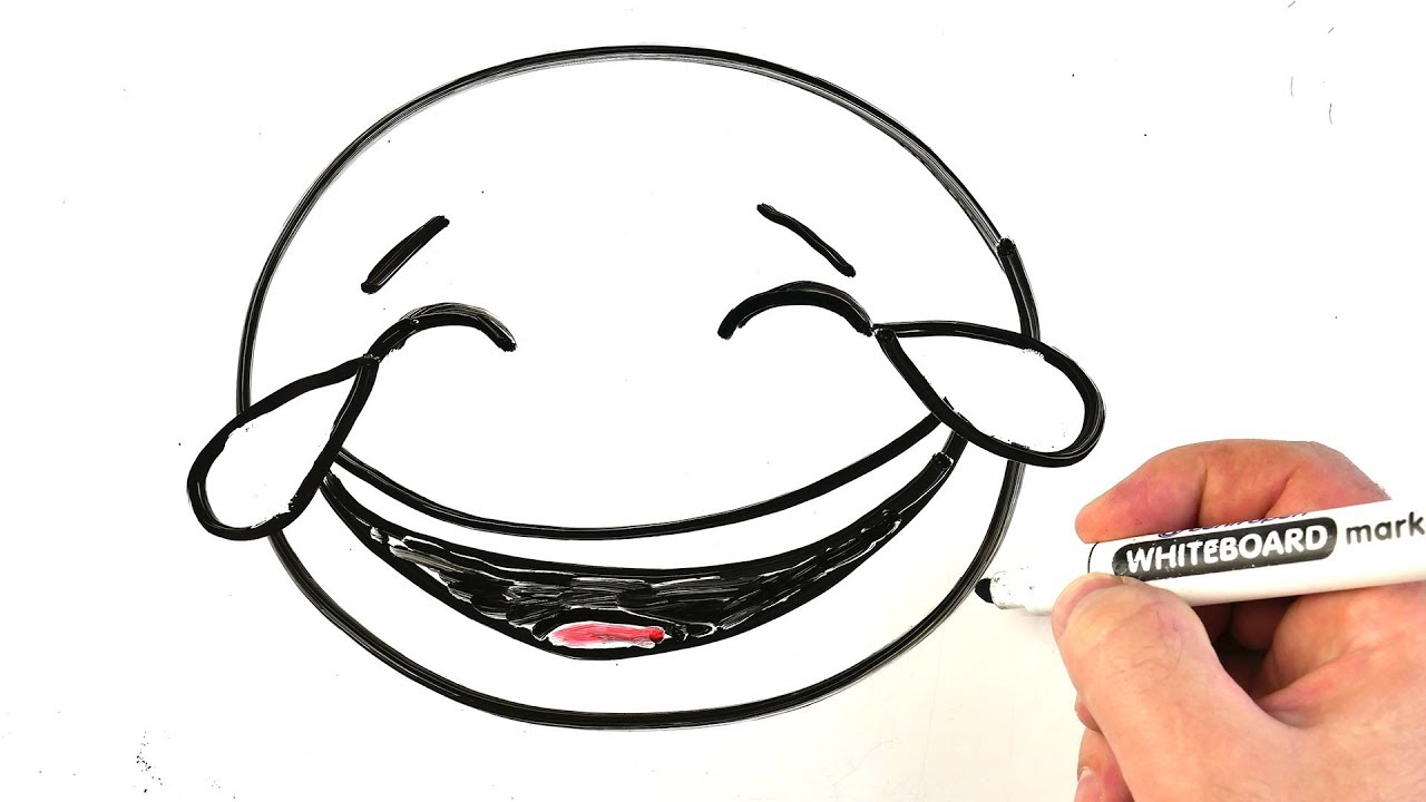 How to Draw Emoji Face With Tears of Joy 😂 Easy Drawing on a Whiteboard