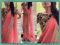 Plain Saree With Heavy Work Blouse   Latest Designer Saree   Fashion