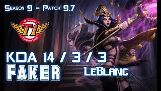 SKT Faker LEBLANC vs YASUO Mid - Patch 9.7 KR Ranked