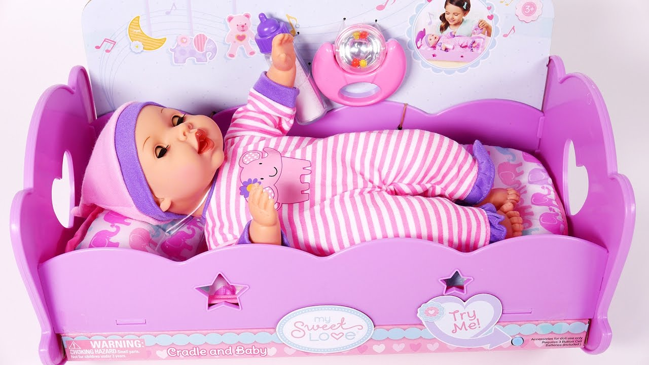 Baby Doll Bed Time Feeding Time Putting Baby To Sleep Doll Crib