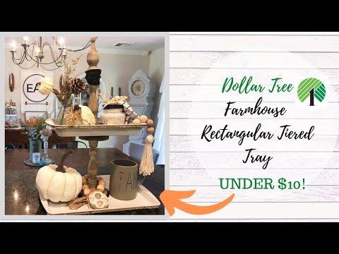 FARMHOUSE STYLE TIER TRAY | DOLLAR TREE TIER TRAY | RECTANGULAR TIER TRAY | FALL 2019 | UNDER $10!