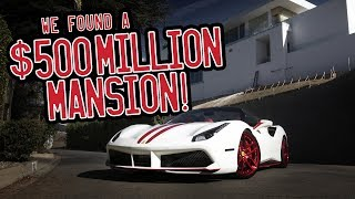 A tour of Beverly Hills in my Ferrari 488 Spider, we found a $500million mansion!