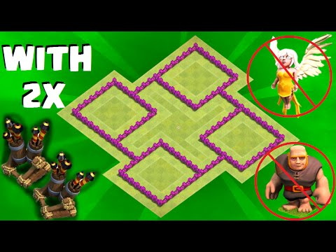 Clash of Clans BEST TH6 WAR BASE! 2 AIR DEFENSES! (Town Hall 6 War/Trophy Base) Anti Everything 2017