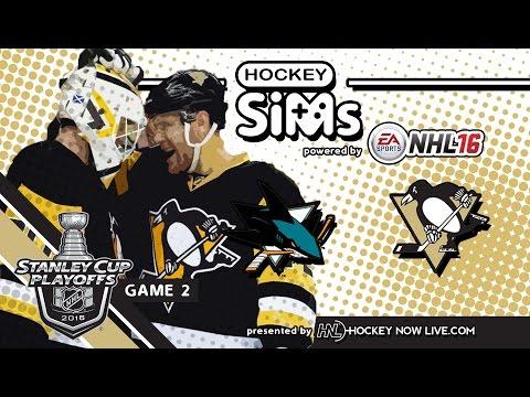 Sharks vs Penguins: Game 2 (NHL 16 Hockey Sims)