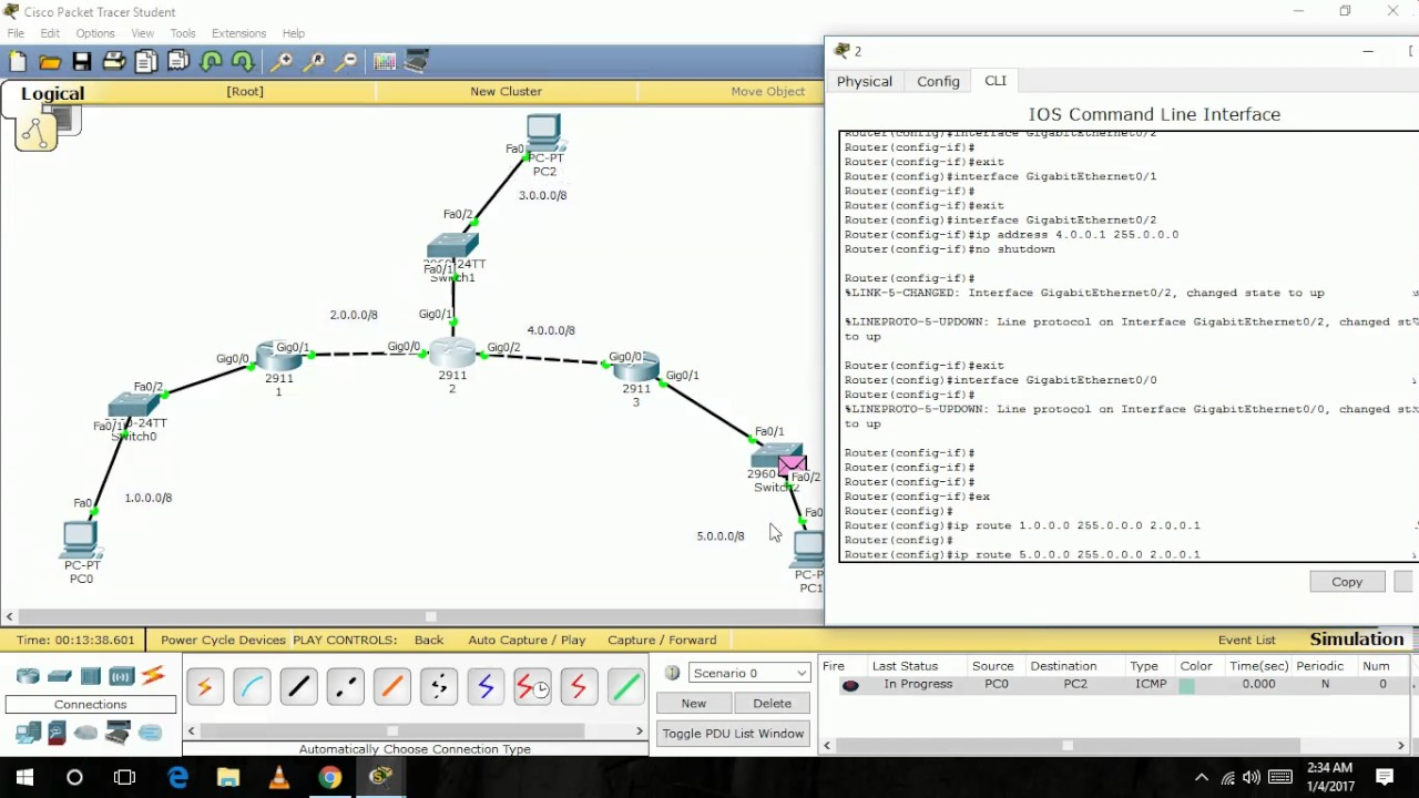 how to configure static routing in cisco packet tracer tutorial in urdu hindi