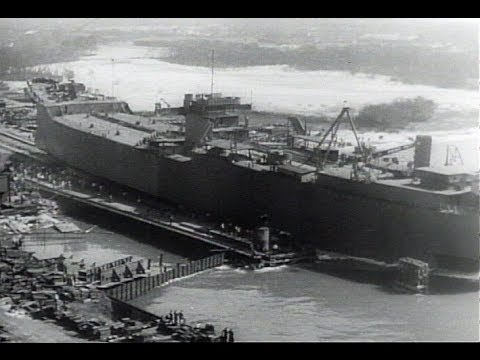 HD Historic Archival Stock Footage WWII - New Ships Pour From U.S. Yards 1943