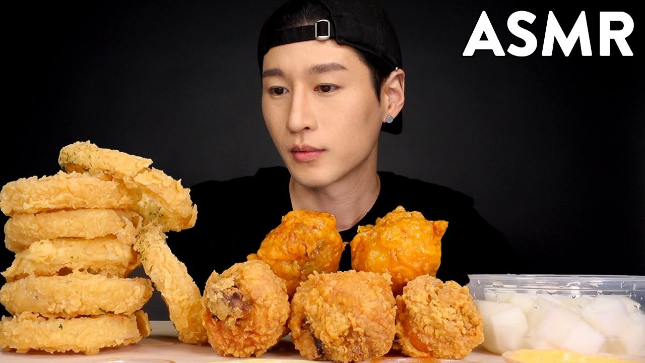 Asmr Onion Rings Korean Fried Chicken No Talking Crunchy Eating Sounds Zach Choi Asmr