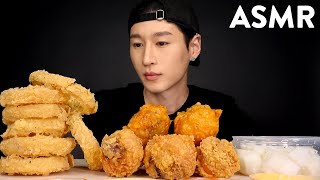 ASMR ONION RINGS & KOREAN FRIED CHICKEN (No Talking) CRUNCHY EATING SOUNDS | Zach Choi ASMR