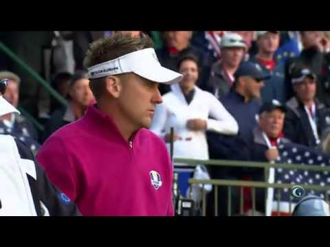 Ian Poulter and Bubba Watson teeing off at Ryder Cup