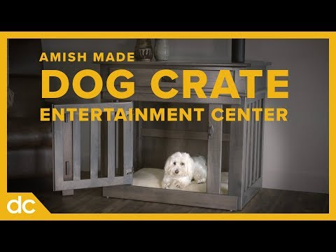 DOGS LOVE This Solid Wood Dog Crate / Entertainment Center
