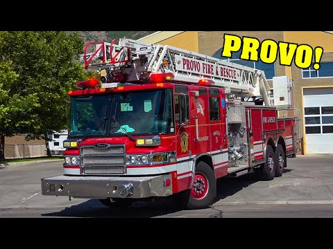 [Fire Station Alerting!] - *PROVO, UTAH* - Truck 25 & Rescue 25 Provo Fire Department Responding!