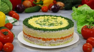 "Russian Layered ""Mimosa"" Salad Recipe (Mimoza) ☆ Maryana Recipe (+Eng. Sub.)"
