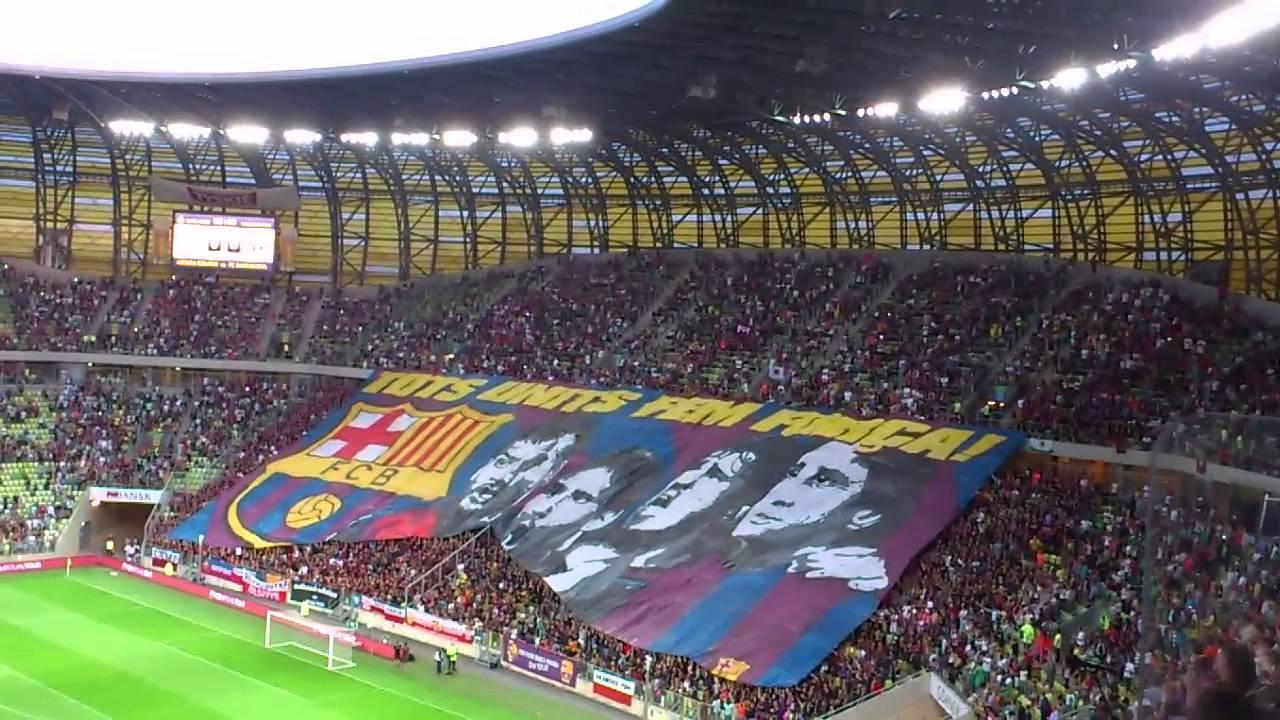Oprawa na meczu Lechia Gdańsk - FC Barcelona - YouTube