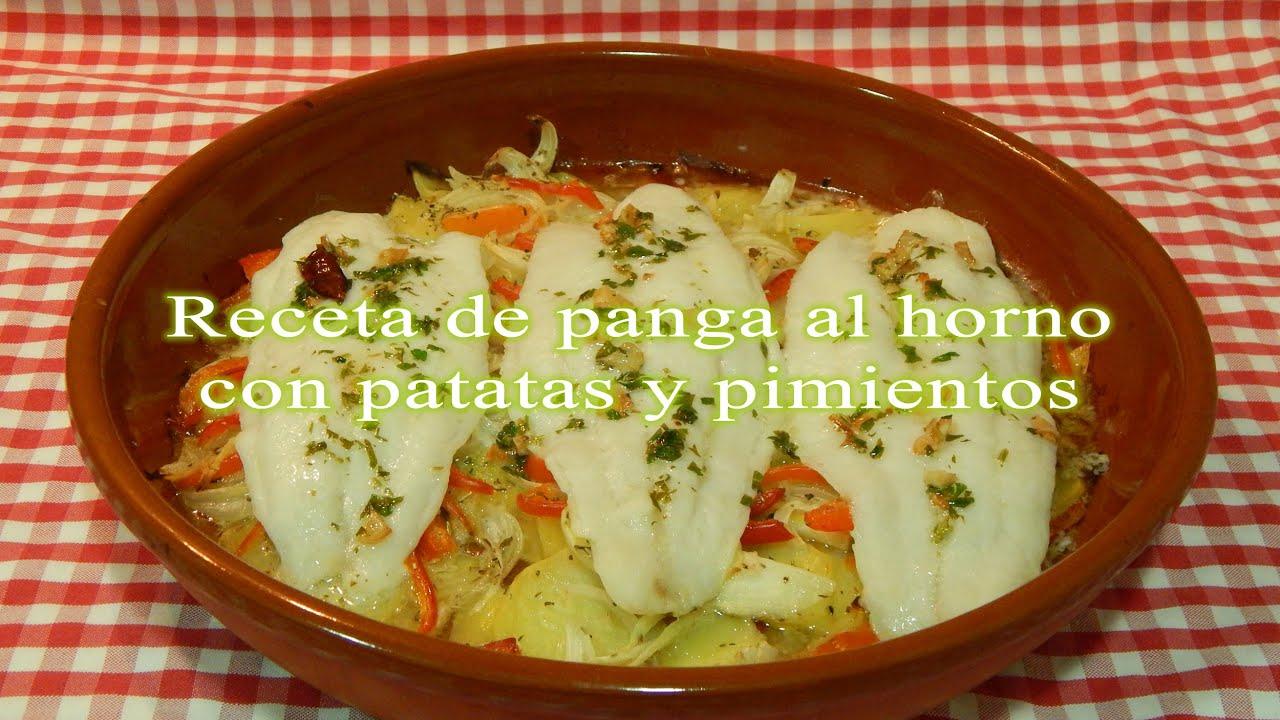 Panga al horno con patatas y pimientos receta fácil