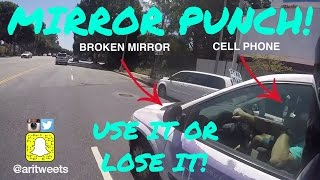 MOTORCYCLE PUNCHES MIRROR SMASH