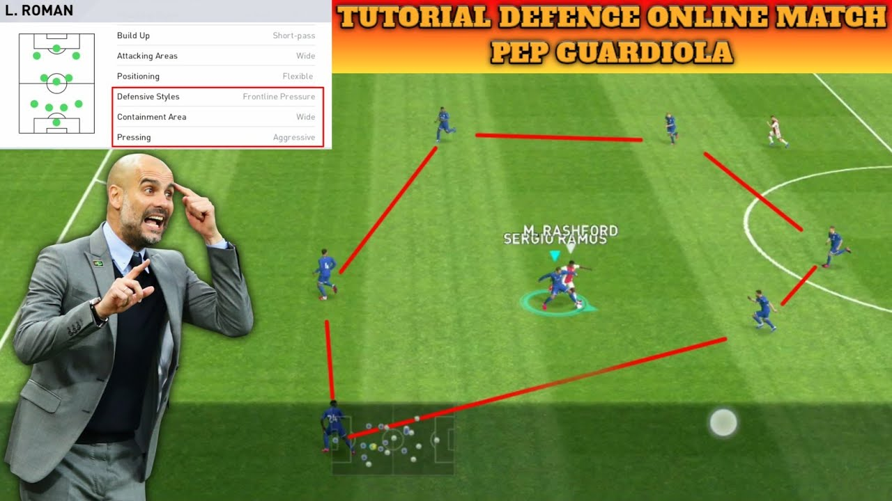 Tutorial Defence Online Match Pep Guardiola | eFootball Pes 2020 Mobile
