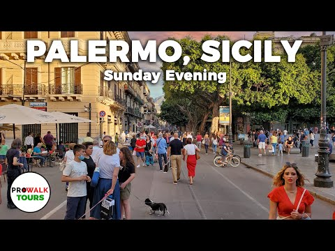Palermo, Sicily Sunday Evening Walk - 4K - June 21st, 2020