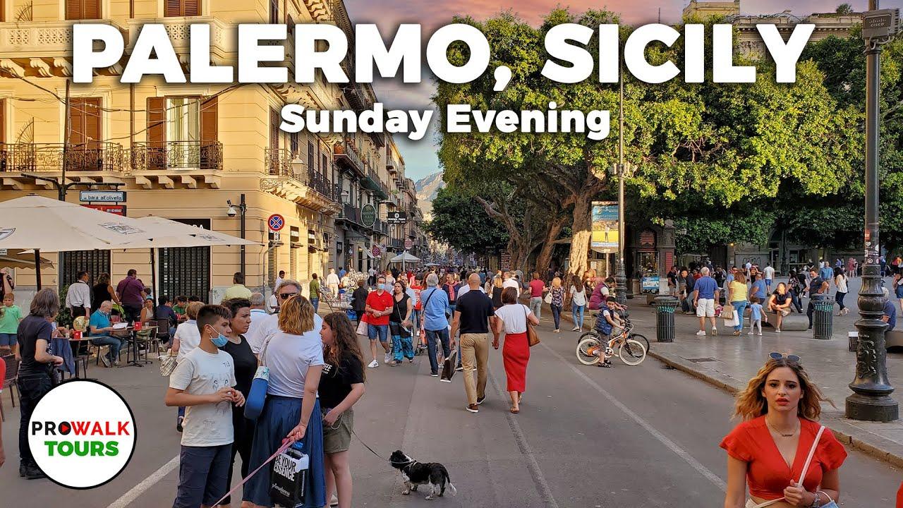 Palermo, Sicily Sunday Evening Walk - 4K - June 21st, 2020