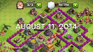 Clash of Clans - 3 1/2 years of hard work later.. (progression of my rushed base 26/6/14 - 21/12/17)