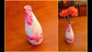 MARBLE EFFECT ON GLASS BOTTLE USING NAIL POLISH