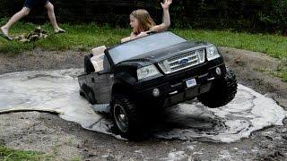high volts pw girls get stuck in powerwheels ford f 150 powerwheels mudding
