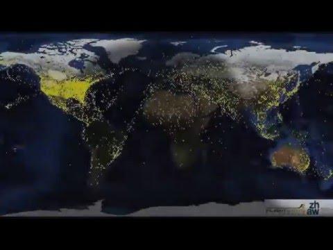 Авиасообщения в мире вид со спутника.