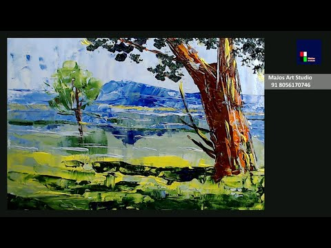 Easy Landscape Painting for Beginners | Acrylic Painting Tutorial