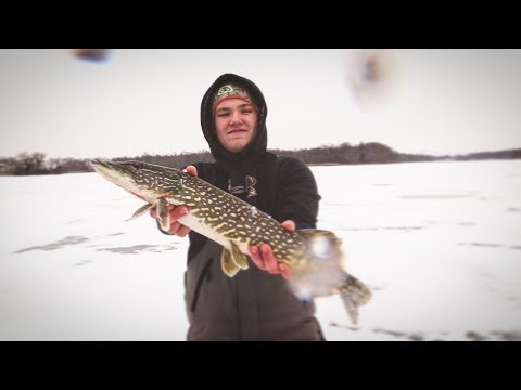 Tip-Up Ice Fishing  2017 Wisconsin | Northern Pike And EXTREMELY RARE ICE CATCH!