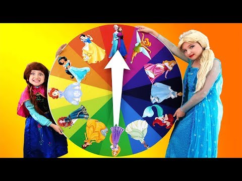 Magic Wheel Challenge - Kids turn into real Disney princesses and play