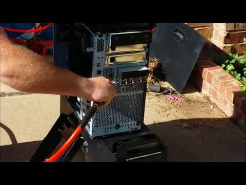 Cleaning computer with compressed air