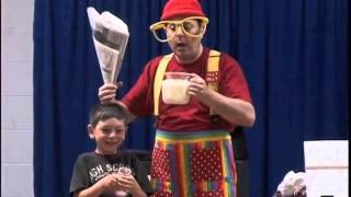 Silly Billy Clown  performs childrens magic in new york - Milk Trick