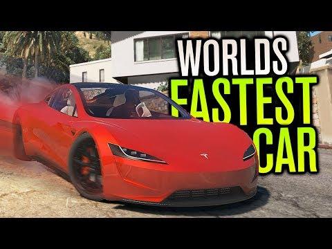 NEW WORLDS FASTEST CAR! | TESLA ROADSTER | GTA V Mods