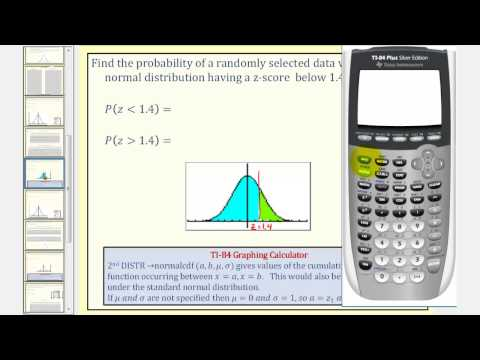 Normal Distribution:  Find Probability Using With Z-scores Using the TI84