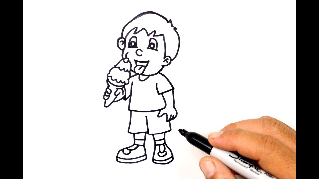 How To Draw A Boy Eating Ice Cream Youtube