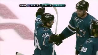 Tomas Hertl between the legs goal (4th of the night). Rangers vs. Sharks October 8, 2013