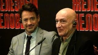 Iron Man 3 Press Conference: Robert Downey Jr., Ben Kingsley in Moscow