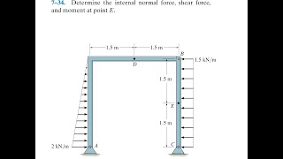 Statics 7.34 - Deteŗmine the internal normal force, shear force, and moment at point E.