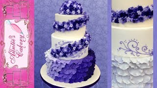 Purple Petal Wedding Cake