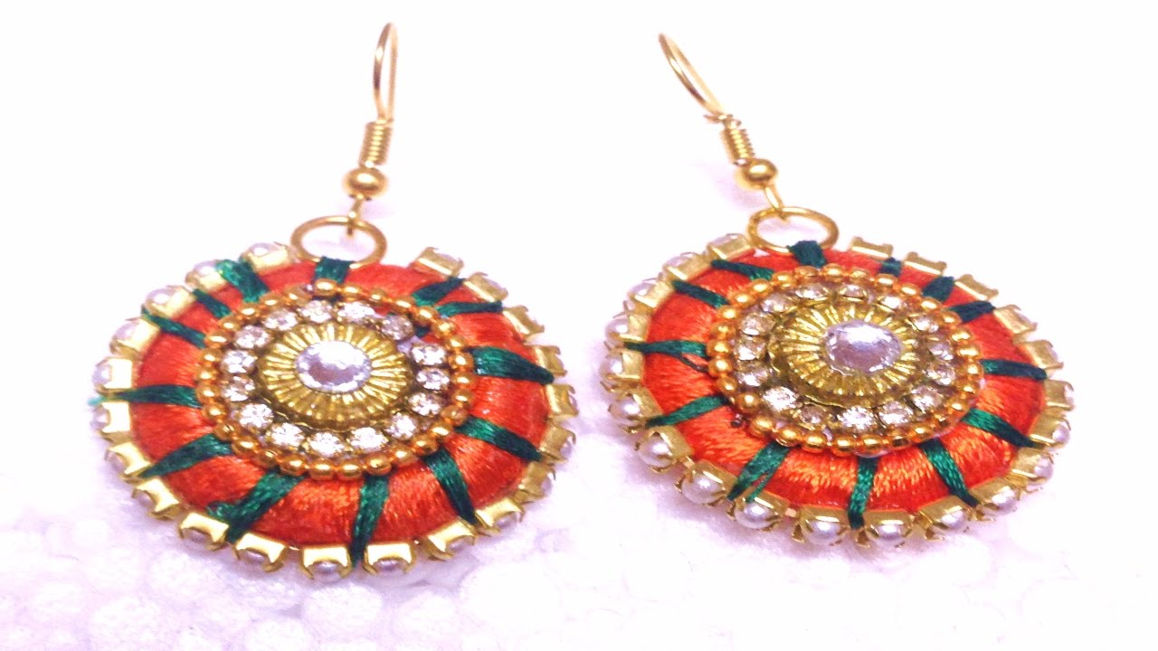 How to make a designer silk thread earrings - CHECKERED STYLE ...