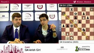 Anish Giri funny post game analysis interview with Svidler at rd 2 - Qatar Master Open 2015