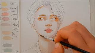 Drawing and Painting Jimin Tutorial | Step by Step | Easy to Follow