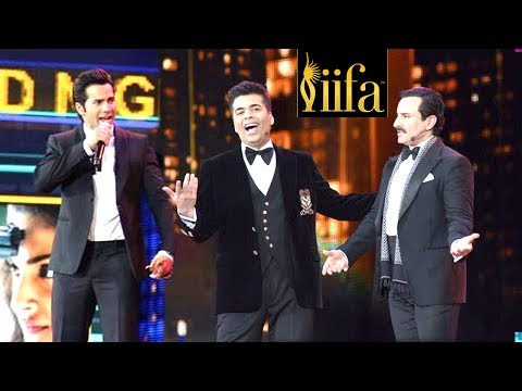 Karan Johar,Saif Ali Khan & Varun Make FUN Of Kangana's Nepotism Comment At IIFA Awards 2017